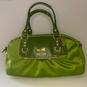 Coach Amanda Mini Satchel Purse in Green Satin